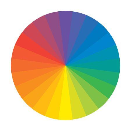Cerchio arcobaleno spettrale di 24 segmenti policromi multicolori. La tavolozza spettrale armonica colorata del pittore.
