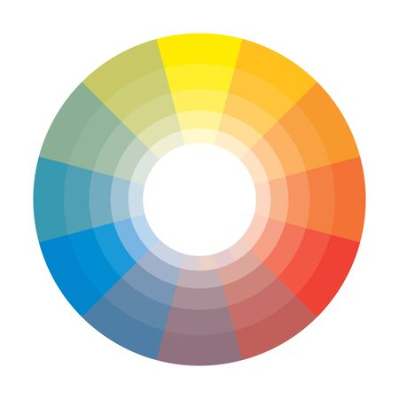 Polychrome Multicolor Spectral Rainbow Circle of 12 segments with shades. The spectral harmonic colorful palette of the painter. Ilustração