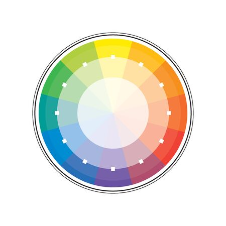 Polychrome Multicolor Spectral Rainbow Circle of 12 segments. The spectral harmonic colorful palette of the painter.