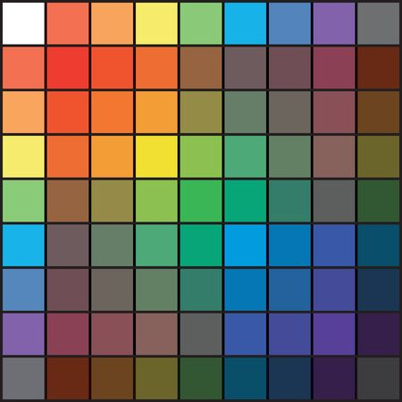 Polychrome Multicolor Spectral Rainbow Grid of 9x9 segments. The spectral harmonic colorful overlay mixed palette of the painter. Ilustração