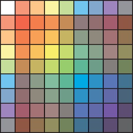 Polychrome Multicolor Spectral Versicolor Rainbow Grid of 9x9 segments. The spectral harmonic colorful palette of the painter. 일러스트