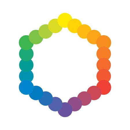 Basic Multicolor Polychrome Spectral Versicolor Rainbow Colors of 24 Rings. The spectral harmonic colorful palette of the painter. 일러스트