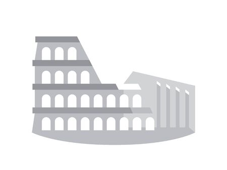 The Colosseum (Coliseum), also known as The Flavian Amphitheater, Rome, Italy. Stylized drawing. Illustration