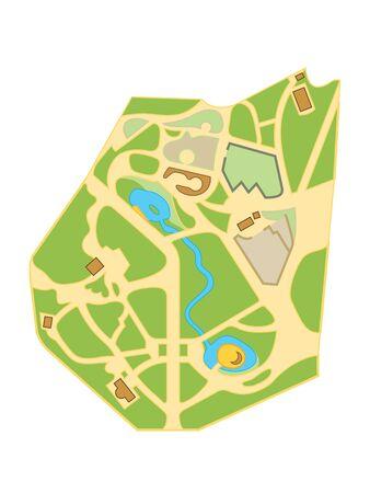 Map of The City Gardens. Geographical Location and Navigation tourist town chart. Ilustração