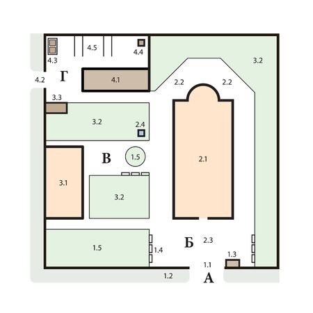 A typical architectural plan of an Orthodox church complex. Medieval Orthodox monastery, construction design.