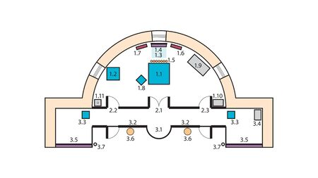 Architectural plan of The Orthodox Church Altar. Medieval Orthodox monastery, construction design. 일러스트