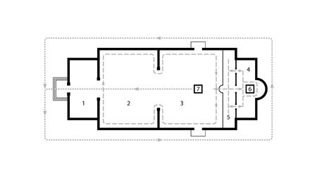 Architectural plan of Orthodox Church. Medieval Orthodox Monastery. Scheme of movement at the Liturgy. 일러스트
