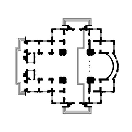 Architectural design of The Christian Orthodox Church, The Medieval Monastery Temple. The construction project of The Cathedral. 矢量图像