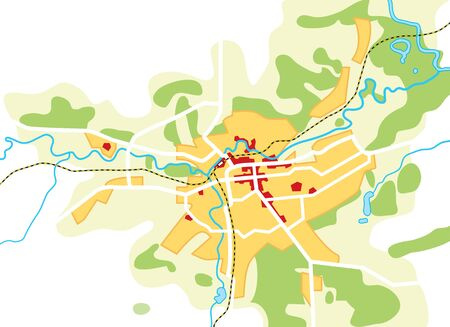 Map of The City. Geographical Location, Navigation Tourist Guide, Route Urban Chart. Illustration