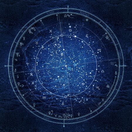 Astrological Celestial Map of The Northern Hemisphere. The General Global Universal Horoscope on January 1, 2020 (00:00 GMT). Detailed Night Sky Chart, Ultraviolet Blueprint (grunge vintage remake). Standard-Bild