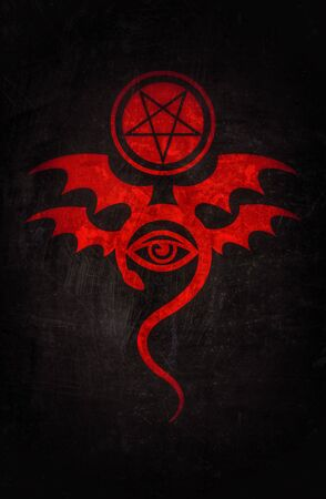 EVIL EYE (The Greatest Malefic). The Diabolic bloody eerie damn. Evil in its pure form. Mystical Symbol of Black Magic, Occult Emblem of Witchcraft and Sign of Necromancy. 스톡 콘텐츠