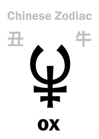 Astrology Alphabet: OX / COW, BULL [牛] sign of Chinese Zodiac (The Illusztráció