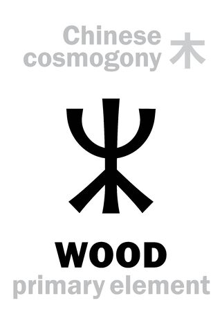 Alchymie Alphabet: WOOD / TREE [木] one of the five primary elements of creation of The World in Chinese philosophy Â«Wu-Xing» & Â«Feng-Shui». Chinese hieroglyphic character, sign/symbol of The East. Illusztráció