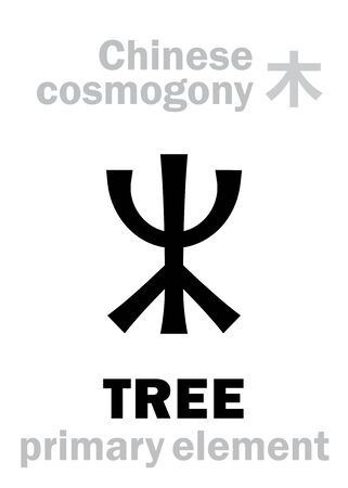 Alchymie Alphabet: TREE / WOOD [木] one of the five primary elements of creation of The World in Chinese philosophy Â«Wu-Xing» & Â«Feng-Shui». Chinese hieroglyphic character, sign/symbol of The East. Illusztráció