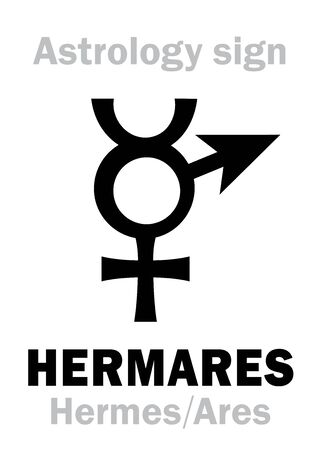 Astrology Alphabet: HERMARES (Hermes+Ares), Local Ancient Greek sacral dual deity of cunning and aggression, bravery & courage. Symbol of strategy. Hieroglyphic character sign (symbol).