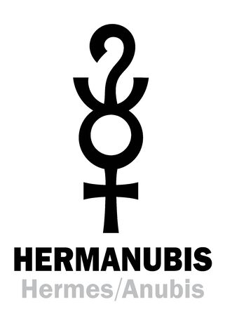 Astrology Alphabet: HERMANUBIS (Hermes+Anubis), the Greek-Egyptian syncretic deity of Truth, the conductor of souls to The Underworld. Hieroglyphic character sign (original symbol).