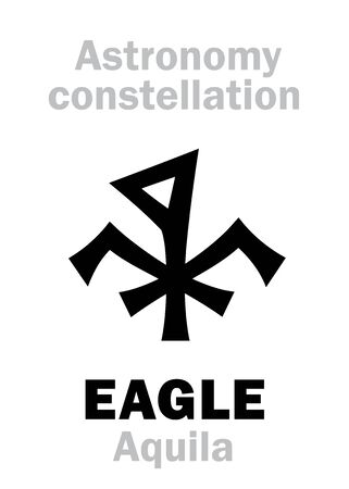 Astrology Alphabet: EAGLE (Aquila), constellation of The Northern Hemisphere. Astrological character, hieroglyphic sign, mystical symbol. Illustration