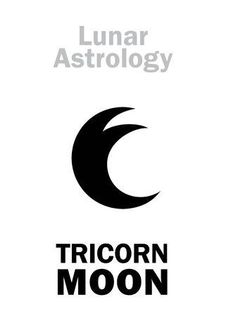 Astrology Alphabet: Three-horned MOON (Luna tricornis), Mystical symbol of Lunar Magic, Sorcery and Wizardry. Hieroglyphic character sign (original symbol). Vektoros illusztráció