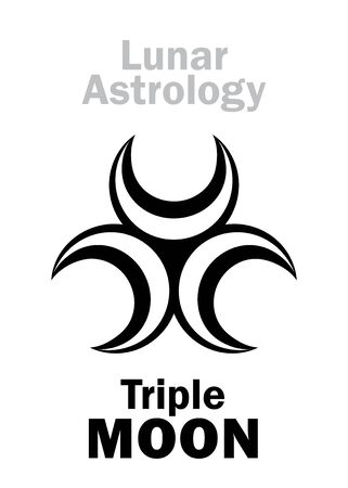 Astrology Alphabet: Triple MOON. Mystical symbol of Three-faced Goddess of The Moon. Emblem of Lunar Magic, Sorcery and Wizardry. Astrological character, hieroglyphic sign, mystical symbol.