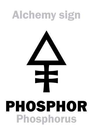 Alchemy Alphabet: PHOSPHOR (Phosphorus, Phosphorus mirabilis, Phosphorus igneus), chemical phosphorescent noctilucous substance, eq.: φωσφορος (greek: light carrying, luminous). Chemical formula=[P].