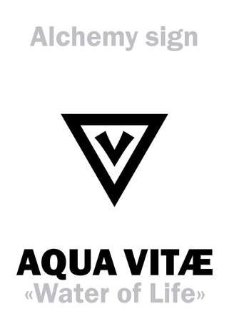 "Alchemy Alphabet: AQUA VITAE (Aqua vitæ ""water of Life"", Ignis aqua ""fire water"", Spiritus vini ""spirit of wine""), Ardent spirits, eau-de-vie, okowita, vodka. Aqueous solution of Ethanol=[C₂H₅OH+H₂O]. Vektorgrafik"