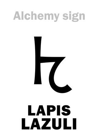 "Alchemy Alphabet: LAPIS LAZULI ( < arab.: ""Lājevard's stone"", Lapis-Lasure, Lazurium), L'asure, Ultramarine, Afghanistan's Azure. Lazurite: [Na[(AlSiO₄)SO₄]. 2nd: Caeruleum, Azurite: [Cu₃(CO₃)₂(OH)₂]."