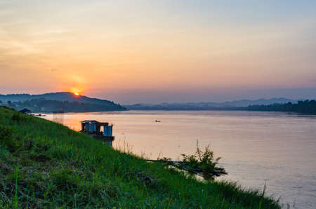 khong river: beautiful views of Chiang Khan in Loei, Thailand.