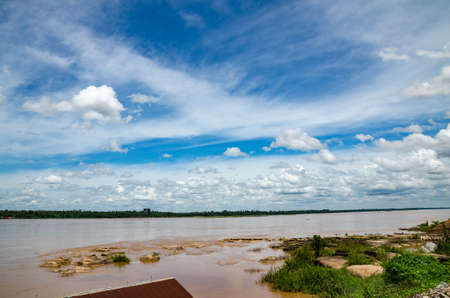 mekong river and blue sky Stock Photo