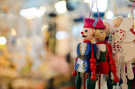 Dolls made of wood Market gift of Thailand