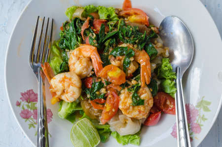 Fried shrimp noodles Ready to eat Popular food of Thailand Stock Photo