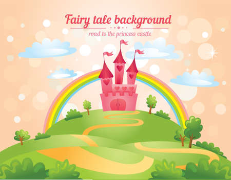 FairyTale landscape, the road leading to the castle. Vector illustration Vector