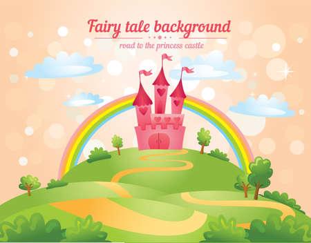 castillos de princesas: Paisaje de cuento, el camino que lleva al castillo. Ilustraci�n vectorial