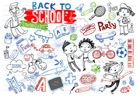 fun: Big set of School doodles- football, school accessories, clothes, food, musical instruments, people. For banners, backgrounds, presentations