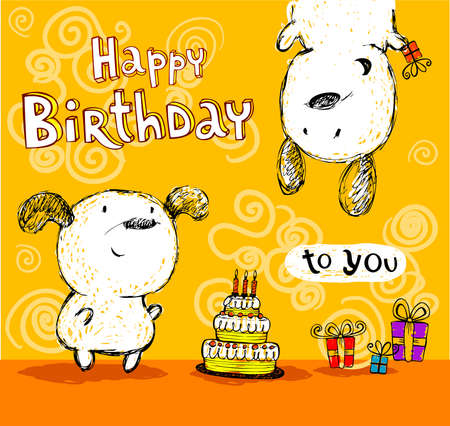 Birthday greeting card with two cute puppys