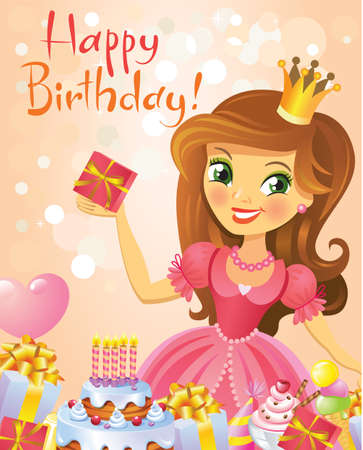 Happy Birthday, Princess, greeting card. Illustration of beautiful princess keeping a gift on a hand. Possible to use as party invitation, greeting card, banner. Vector illustration. Vector
