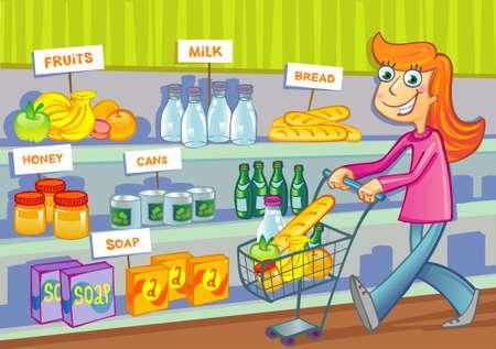 mujer en el supermercado: Chica alegre joven va de compras en un supermercado