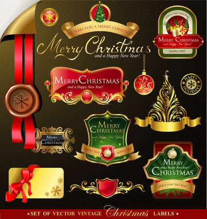 victorian christmas: Christmas vector frames and ornamental labels set. For banners, backgrounds, presentations, decorations. All pieces are separated