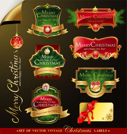 illustration editable: Christmas vector frames and ornamental labels set. For banners, backgrounds, presentations, decorations. All pieces are separated