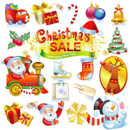 Christmas sale - collection of vector icons and illustrations. For banners, holiday backgrounds, decorations. Vector