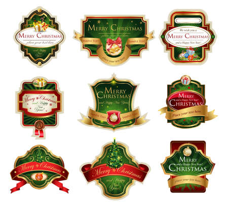 gold ribbon: Christmas vector frames and ornamental labels set. For banners, backgrounds, presentations, decorations. All pieces are separated
