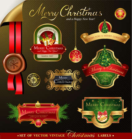 Christmas vector frames and ornamental labels set. For banners, backgrounds, presentations, decorations. All pieces are separated Vector