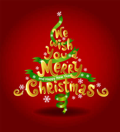 hedge trees: Christmas tree made of inscription - we wish you a merry Christmas. Illustration