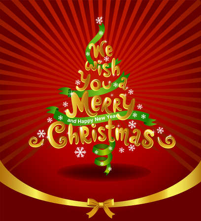 Christmas tree made of inscription - we wish you a merry Christmas. Illustration