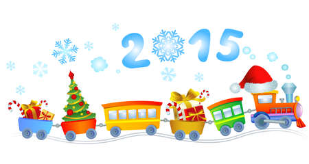 Cute Christmas train with a smoke in a look a 2015. Vector