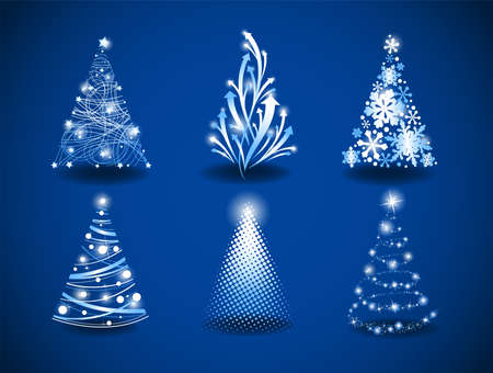 christmas tree set: Six Christmas trees to create holiday cards, backgrounds, ornaments, decoration. Illustration