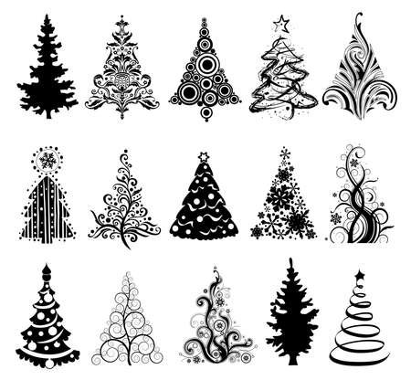 trees silhouette: 15 designs in one file. To create holiday cards, backgrounds, ornaments, decoration.