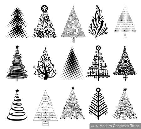 pine tree silhouette: 15 designs in one file. To create holiday cards, backgrounds, ornaments, decoration.