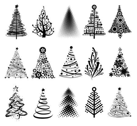 albero pino: 15 disegni in un unico file. Per creare biglietti di auguri, sfondi, ornamenti, decorazioni.