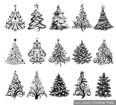 15 ontwerpen in één bestand. Om kerstkaarten, achtergronden, ornamenten maken, decoratie.