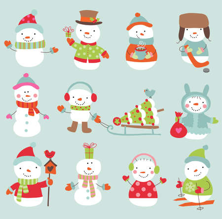 snowman cartoon: Vector illustration for banners, backgrounds, decorations.